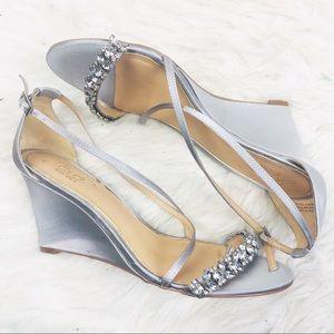 Badgley Mischka | Jewel Embellished Silver Heels